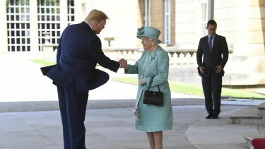 The Queen greets US President Donald Trump at Buckingham Palace.