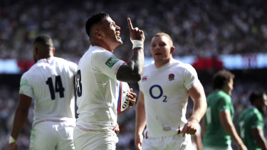Heaven-sent: Tuilagi enjoys the moment after his try at England's home of rugby.
