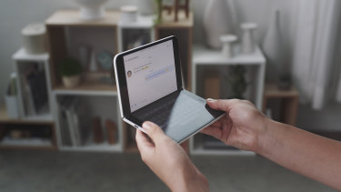 The Duo can be held like a book or like or small laptop, spread out like a tablet, or folded closed with the screens on the inside or outside.