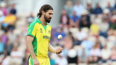 Australia's Kane Richardson during the ICC Cricket World Cup Warm up match at The Hampshire Bowl, Southampton in 2019.