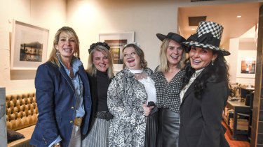 Friends Chloe White, Jo Saadie, Kath Canfell, Sally Ballantine and Stephanie Wilson at Lamaro's Hotel in South Melbourne.