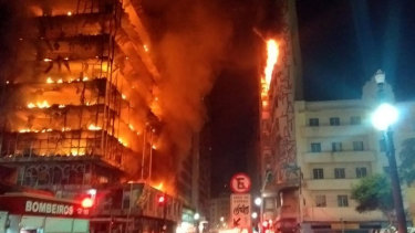 The building in downtown Sao Paulo collapsed as firefighters worked to put out a fire that began in the middle of the night.