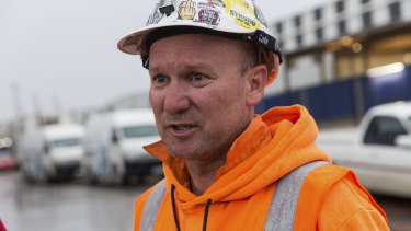 AWU shop steward Johnny Keys at the West Gate Tunnel worksite on Thursday morning.