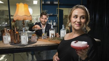 Stephen Lawrence with his fiancé Diana Abelardo, owners of Brunswick Aces gin distillery, which will open a permanent non-alcoholic bar.