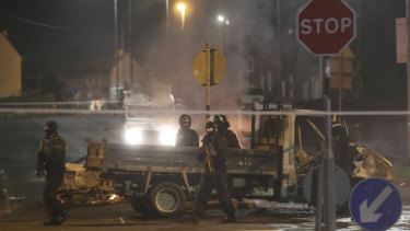 Police guard a crime scene during unrest in the Creggan area of Londonderry, in Northern Ireland, in April.