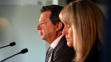 Cricket Australia chairman David Peever speaks to the media alongside chair of the review sub committee Jacquie Hey during a Cricket Australia press conference at the MCG on Monday.