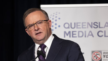 Federal Labor leader Anthony Albanese  addresses the Queensland Media Club in Brisbane on Wednesday.