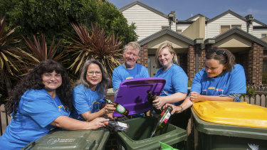 Recycling champions of Hobsons Bay (L-R) Rose McVicar, Myly Nguyen, Doug Palmer, Dominique Dybala and Adeline Barham.