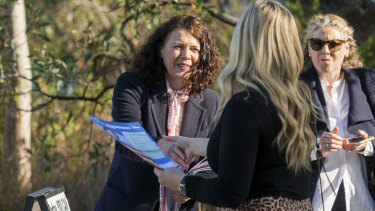 Labor candidate for Corangamite Libby Coker trying to persuade voters to support her at the election.