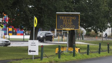 The MSAC drive-through test site in Albert Park was temporarily closed on Sunday because of high demand.