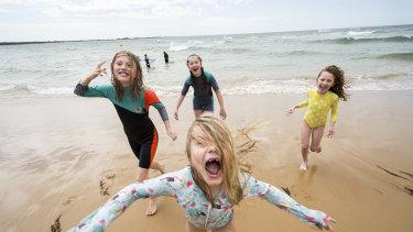 Sierra Farrelly, 11, Ella Farrelly, 13, Evie Holzer, 7 andAdele Farrelly, 7 (front) at Torquay Foreshore.