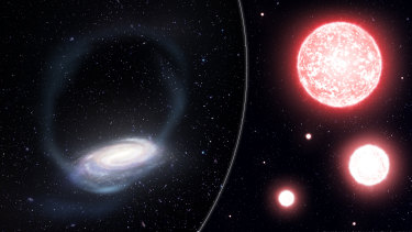 An artist's impression of the thin stream of stars torn from the Phoenix globular cluster, wrapping around the Milky Way (left).
