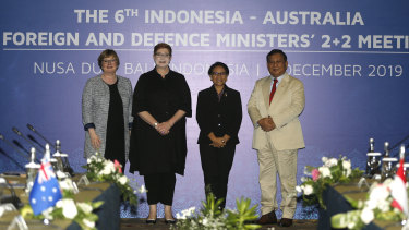 Australian and Indonesian ministers Linda Reynolds, Marise Payne, Retno Marsudi and Prabowo Subianto met in Denpasar on Friday.