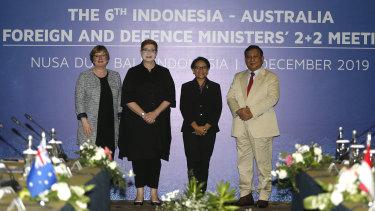 Australian and Indonesian ministers Linda Reynolds, Marise Payne, Retno Marsudi and Prabowo Subianto met in Denpasar on Friday.