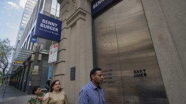 Benny Burger in Little Collins Street.