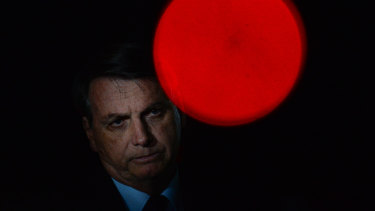President of Brazil Jair Bolsonaro during a conference with the press and supporters at Alvorada Palace.