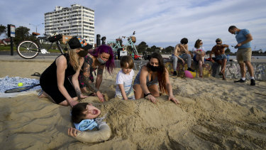 Hosueholds were out enjoying the beautiful Spring day at St Kilda Beach on Saturday.