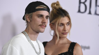 Justin Bieber, moustache and Hailey Bieber at the premiere of Seasons in Los Angeles.