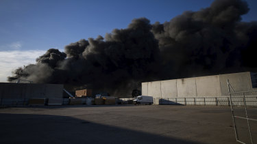 The Campbellfield factory ablaze on Friday.