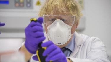British Prime Minister Boris Johnson visits the French biotechnology laboratory Valneva in Scotland.
