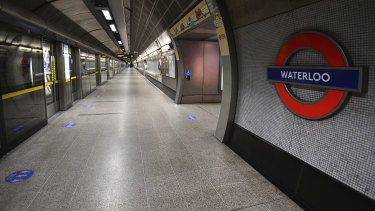 An empty platform at Waterloo underground station, during what would normally be the peak morning rush hour.
