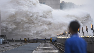 Floodwaters are discharged at the Three Gorges Dam in central China's Hubei province on Sunday.