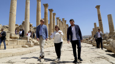 Britain's Prince William and Jordan's Crown Prince Hussein, tour the Jerash archaeological site in northern Jordan.