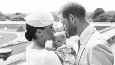 An official christening photo released by the Duke and Duchess of Sussex on Saturday.