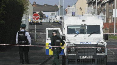 Police at the scene in Londonderry, Northern Ireland in 2019, following the death of 29-year-old journalist Lyra McKee who was shot and killed in a flare up of partisan violence.