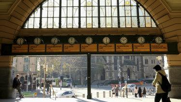 An unrecognisably deserted Flinders Street Station.