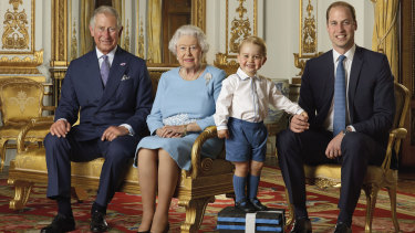 Prince Charles, the Queen, Prince George and Prince Williams in a photo marking the Queen's 90th birthday in 2016.