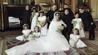 The Duke and Duchess of Sussex with the children involved in the wedding.