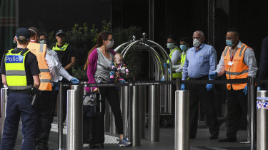 Victorian residents returning from overseas are being bussed from the airport to the Crown Promenade hotel in Southbank where they will spend 14 days of forced isolation in a bid to flatten the curve of cases of Covid19 in Victoria.