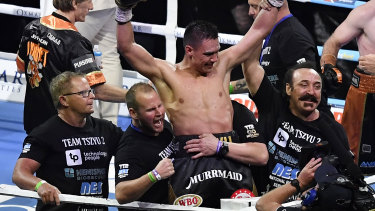 Tim Tszyu celebrates his win over Jeff Horn in Townsville.