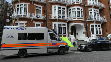 A police van parked outside the Ecuadorian embassy in London after Julian Assange was arrested.