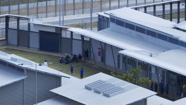 Asylum seekers at the sprawling but now mothballed detention centre in 2011.