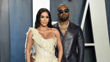 Kim Kardashian West and Kanye West arrive at the Vanity Fair Oscar Party in Beverly Hills last year.