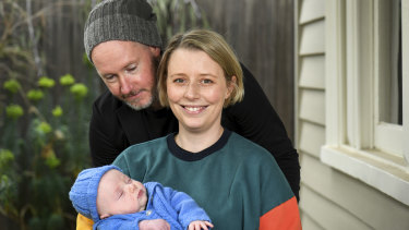 Mollie Tregillis with three month-old baby Arthur and her partner Andrew McRobert.