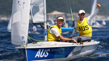 Mathew Belcher (right) and Will Ryan are all but guaranteed Australia's second gold of the sailing regatta in the men's 470 class.
