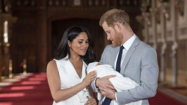Meghan, the Duchess of Sussex and Prince Harry with their son Archie after his birth in 2019.