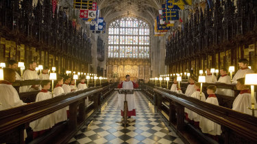The St. George's Chapel Choir rehearses ahead of the royal wedding.