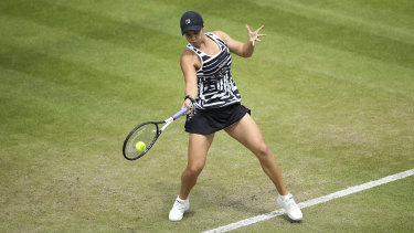 In full swing: Australia's Ashleigh Barty plays a return to Germany's Julia Goerges during the final.