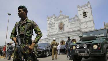 Sri Lankan Army soldiers secure the area around St Anthony's Shrine after a blast in Colombo.