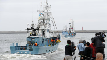 A whaling boat leaves a port in Kushiro, Hokkaido, northern Japan, on Monday.
