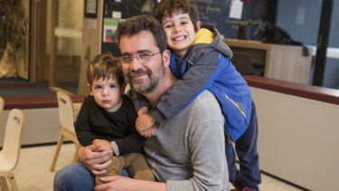 Giuseppe Infusini with his children Alessandro, 4, and Santiago 1.