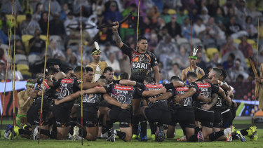 The Indigenous All Stars perform a 'War Dance' before the start of the NRL All Stars game.