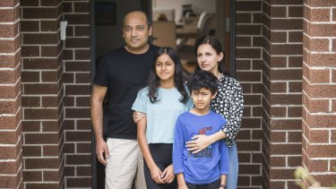 Ben and Amber Yamin, with their children Alina and Ayaan, are isolating at their home in Mount Waverley.
