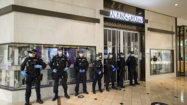 Public Order Response officers inside Chadstone.