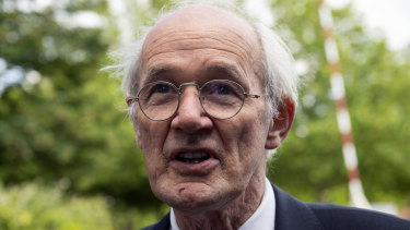John Shipton, the father of Wikileaks founder Julian Assange, speaks to the media after visiting his son at Belmarsh prison in London.