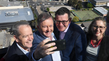Federal Opposition Leader Bill Shorten, federal MP Anthony Albanese, Premier Daniel Andrews and Public Transport Minister Jacinta Allan on Sunday announcing joint funding for the suburban rail loop plan.